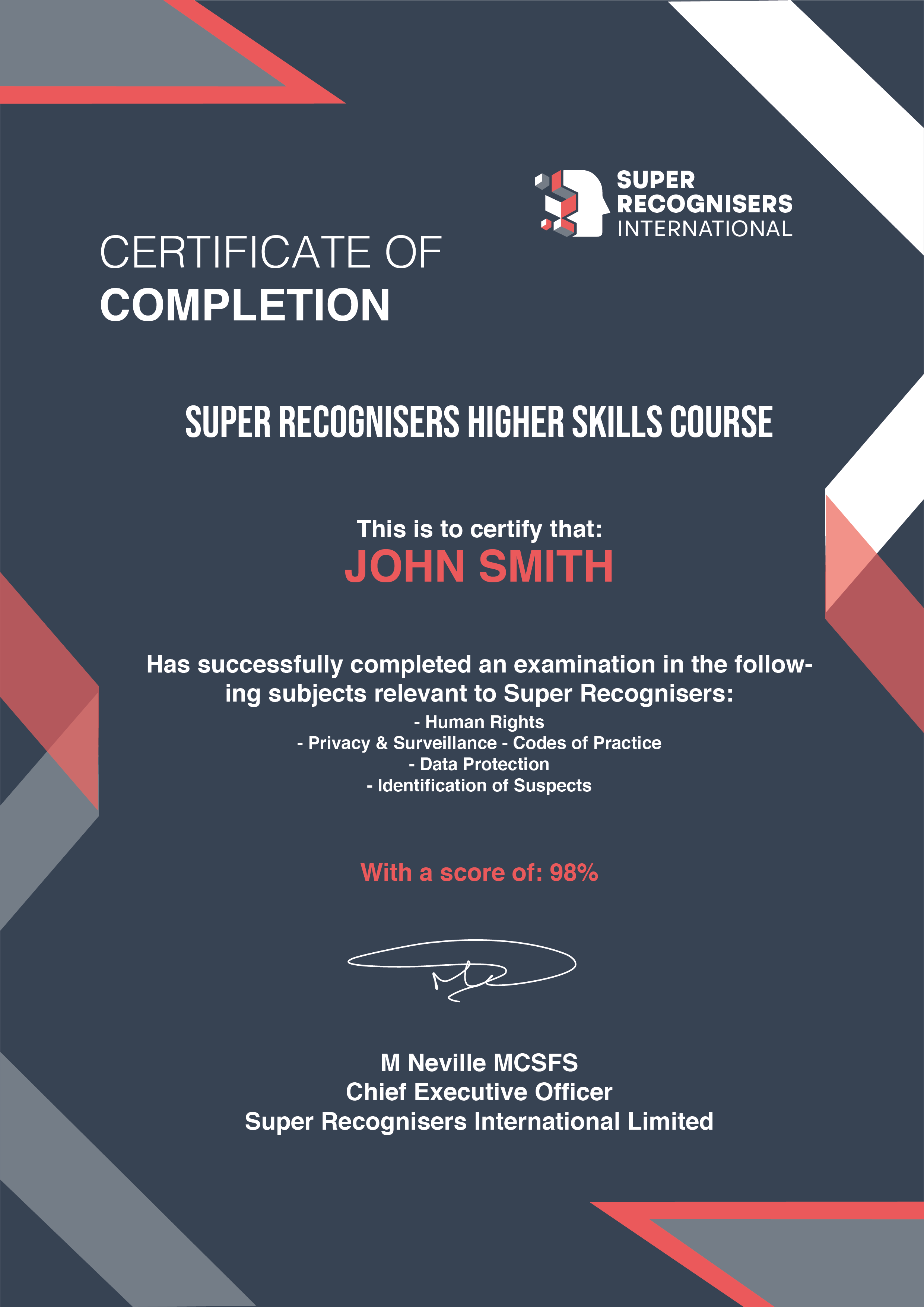 Specialised Pro Course Certificate Super Recognisers International - Kent, England - Main background