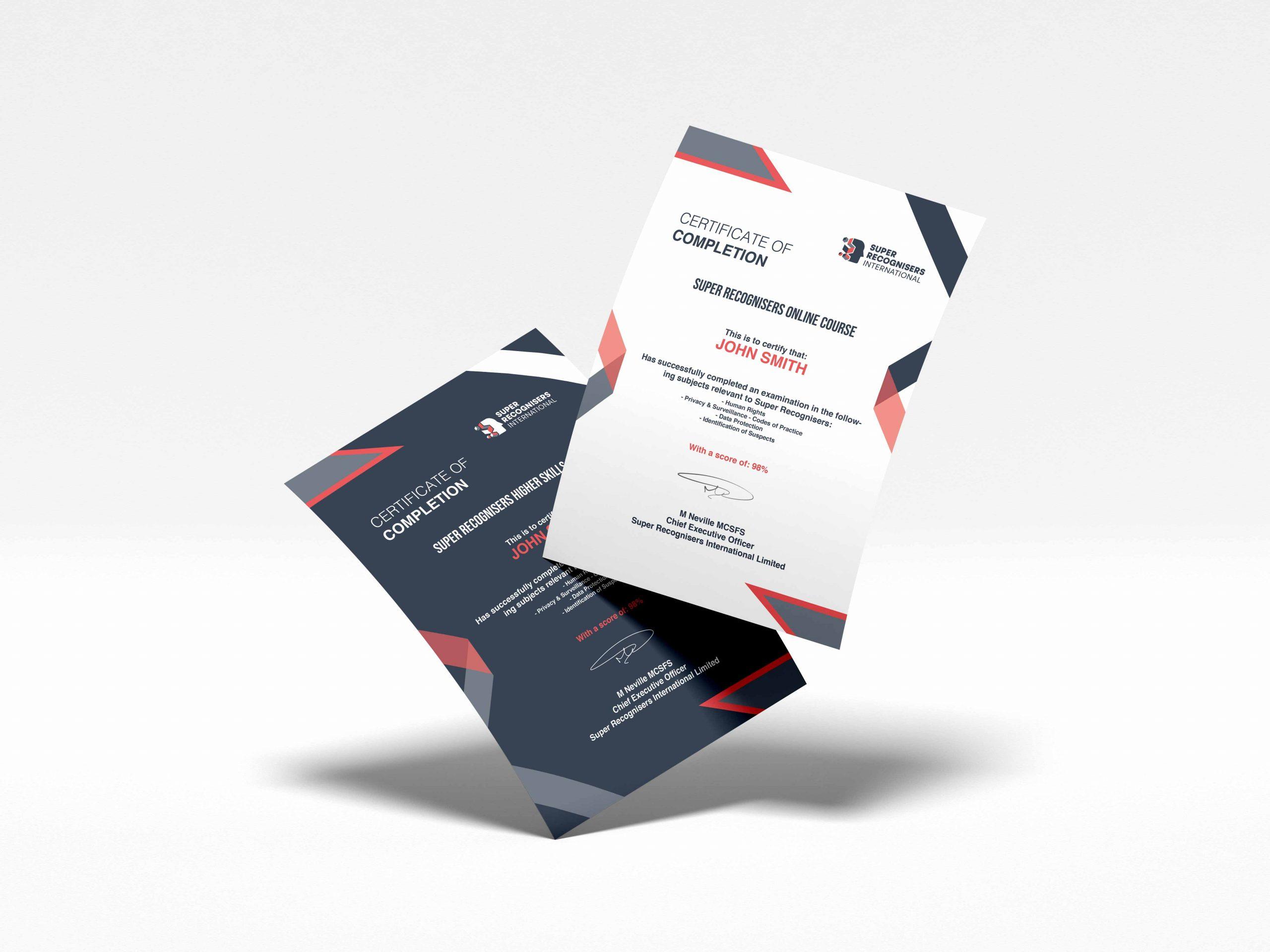 Course Certificates Super Recognisers International - Kent, England - Main background