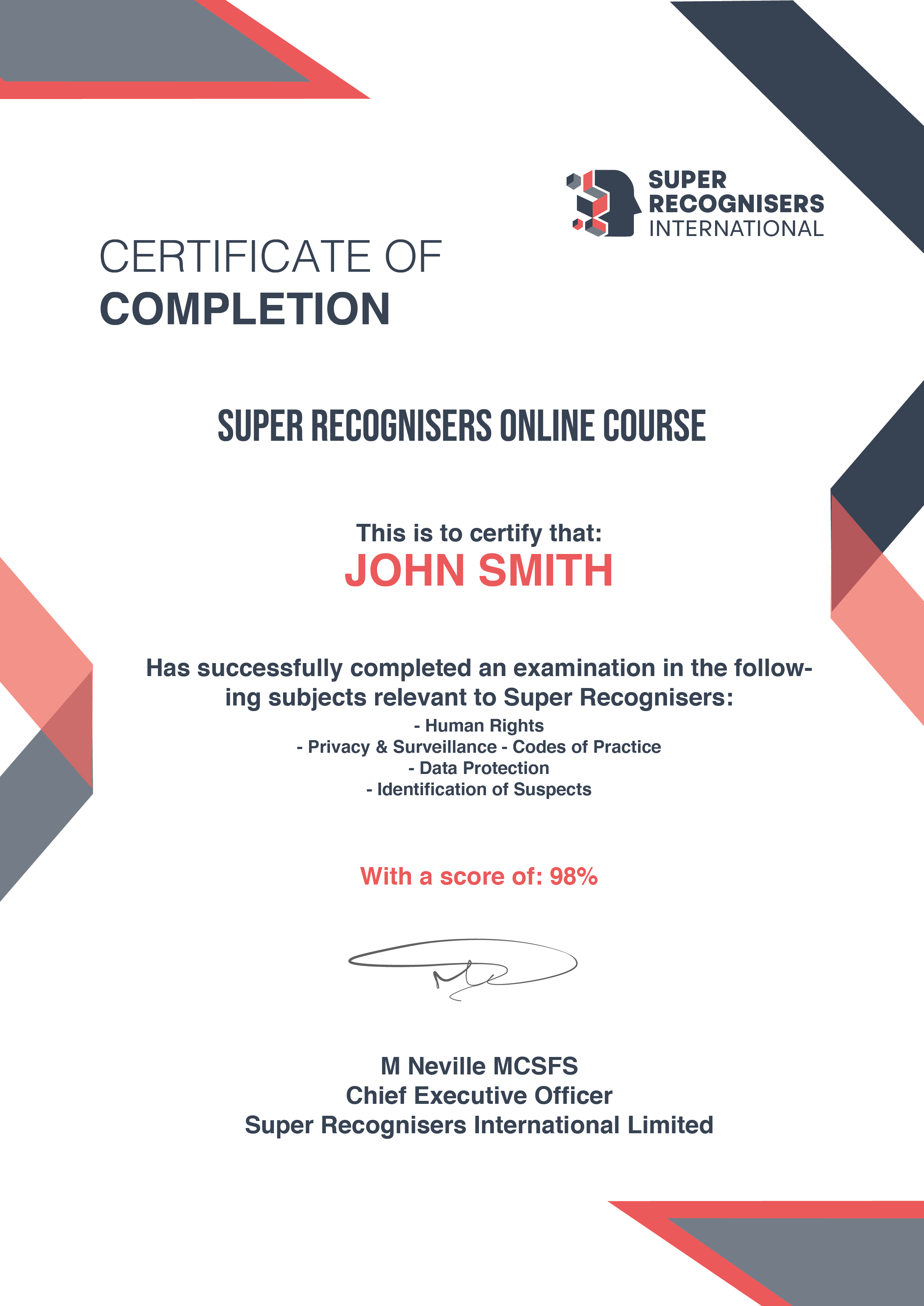 Online Course Certificate Super Recognisers International - Kent, England - Main background